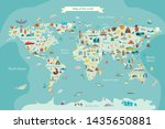 landmarks world map vector... | Shutterstock .eps vector #1435650881