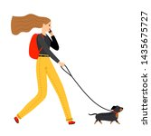 Stock photo woman walking with dog young female person walk pet dog on leash illustration 1435675727
