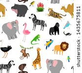 africa animals pattern. african ... | Shutterstock . vector #1435675811