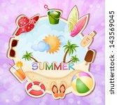 summer holiday illustration... | Shutterstock .eps vector #143569045