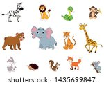 set of wildlife animals. zebra  ... | Shutterstock .eps vector #1435699847