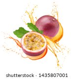 Passion Fruits With Leaf In...