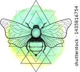 beautiful hand drawn honey bee... | Shutterstock .eps vector #1435816754