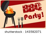 vintage bbq grill party | Shutterstock .eps vector #143582071