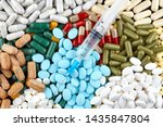 syringe  many colorful pills... | Shutterstock . vector #1435847804