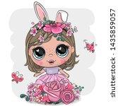 cute cartoon girl with rabbit...   Shutterstock .eps vector #1435859057