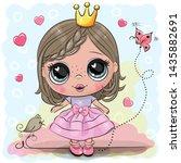 cute cartoon little princess in ... | Shutterstock .eps vector #1435882691