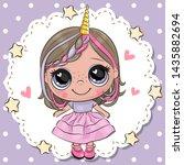 cute cartoon unicorn girl with...   Shutterstock .eps vector #1435882694