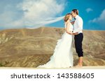 bride and groom on the... | Shutterstock . vector #143588605