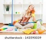 young housewife took a break... | Shutterstock . vector #143590039