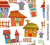 city seamless pattern.vector... | Shutterstock .eps vector #143592631