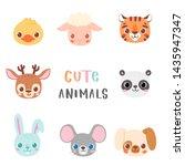set of pretty little animal... | Shutterstock .eps vector #1435947347