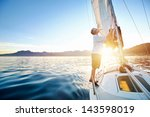 Sunrise Sailing Man On Boat In...
