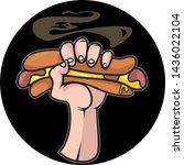 the emblem of a hand with hot... | Shutterstock .eps vector #1436022104