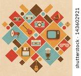 Retro Media Icons In Geometric...