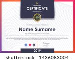 certificate template with... | Shutterstock .eps vector #1436083004