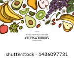 floral design with colored... | Shutterstock .eps vector #1436097731