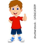 cartoon boy giving you thumbs up | Shutterstock .eps vector #143614309