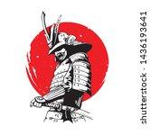 japanese samurai soldier on... | Shutterstock .eps vector #1436193641