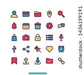 user interface flat line icon...