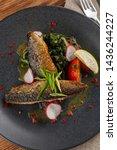 fried mackerel fish with...   Shutterstock . vector #1436244227