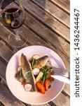 fried mackerel fish with...   Shutterstock . vector #1436244467