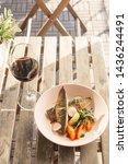 fried mackerel fish with...   Shutterstock . vector #1436244491