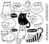 Stock vector big set of hand drawn cats on a white background vector illustration doodle sketch 1436302427