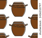 clay saucepan with ornament...   Shutterstock .eps vector #1436310797