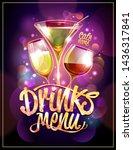 drinks menu design concept with ... | Shutterstock .eps vector #1436317841