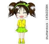 smiling girl cute girl cartoon... | Shutterstock .eps vector #143632084