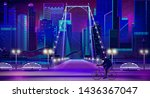 metropolis night cityscape with ... | Shutterstock .eps vector #1436367047