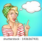 amazed blond woman with hair... | Shutterstock .eps vector #1436367431