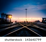 Cargo Train Platform At Sunset...