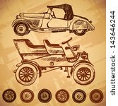 vector vintage car and wheel... | Shutterstock .eps vector #143646244