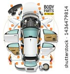 parts of a body of the white... | Shutterstock . vector #1436479814