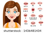 cute brunette woman talking... | Shutterstock .eps vector #1436481434