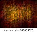 dark numbers on wood background - stock photo