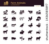 a large vector set of 25 farm... | Shutterstock .eps vector #1436585897