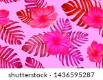 pink red exotic pattern.... | Shutterstock .eps vector #1436595287