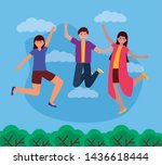 happy young women and man...   Shutterstock .eps vector #1436618444