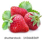 Three Ripe Strawberries With...