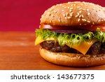 hamburger closeup on red... | Shutterstock . vector #143677375