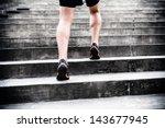 Man Runner Running On Stairs I...