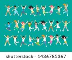 student group standing in front ... | Shutterstock .eps vector #1436785367