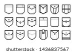 Patch pocket. Uniform clothes pockets patches with seam, patched denim pocket line. Casual style pocketful dress clothes, shirt arms pocket icons. Isolated icon vector set