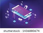 isometric smartphone repair...   Shutterstock .eps vector #1436880674