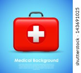 illustration of first aid box on medical background