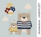 cute daddy teddy bear with his... | Shutterstock .eps vector #1436951297