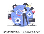 flat isolated businesswoman in... | Shutterstock .eps vector #1436965724